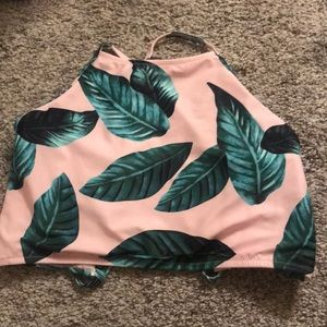 Cupcake pink floral palm leaves print high neck